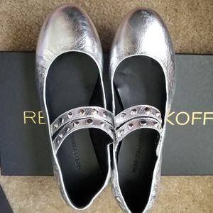 Rebecca Minkoff Lori silver ballerina flats US 6.5